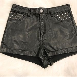 DIVIDED Black Faux Leather Studded Mini Shorts